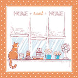 Home sweet card.Windowsill with home love objects and cute cat. Stock Image