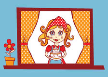 Home sweet flavour illustration. Mother showing a delicious cake from a window Royalty Free Stock Image
