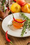 Home sweet fresh hot sauce made with  peaches Royalty Free Stock Images