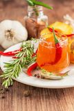 Home sweet fresh hot sauce made with  peaches Royalty Free Stock Photography