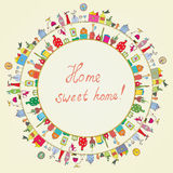 Home sweet - funny graphic card Royalty Free Stock Images