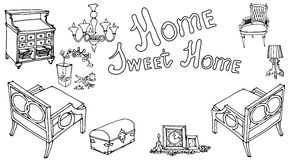 Home sweet furniture decor prov. Card with a set of furniture painted with the text  sweet home, for house warming party, in the style of Provence vintage black Royalty Free Stock Photo
