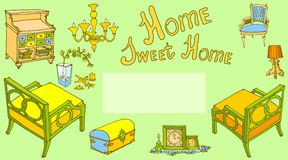 Home sweet furniture decor prov green. Card with a set of furniture painted with the text  sweet home, for house warming party, in the style of Provence, color Stock Photos