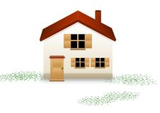 Home sweet home. Illustration of a house and some grass on a white background Royalty Free Stock Photos