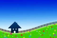 Home sweet home. Outline of a house sourrounded of a fence on a meadow full of flowers against blue sky royalty free illustration