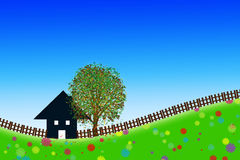 Home sweet home. Outline of a house on a meadow full of flowers against blue sky royalty free illustration