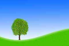 Home sweet home. A single tree on a meadow against blue sky stock illustration