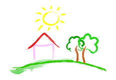 Home Sweet Home. House with two trees and the sun stock illustration