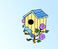 Home Sweet Home. Happy Bluebird resting on birdhouse peg.Background is on work path Royalty Free Stock Photos