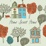 Home sweet home. Card. Seamless background. Vector illustration Stock Images
