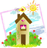 Home Sweet Home. Illustration in a skethy kid drawn style Royalty Free Stock Image