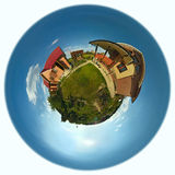 Home, sweet home. Planet with family house and garden stock photography
