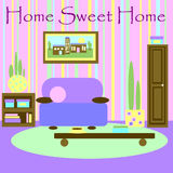 Home Sweet Home. Fifties style showing an interior designed according Feng Shui principles Stock Images
