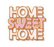 Home sweet home. Biscuit cartoon hand drawn letters. Cute design in pastel pink colors. Isolated on white. Vector Stock Photo