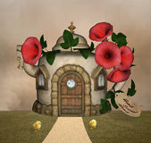 Home sweet home. Bizarre house in a meadow Royalty Free Stock Image