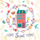 Home sweet home card with floral wreath Royalty Free Stock Image
