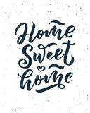 Home sweet home card. Hand drawn lettering. Modern calligraphy. Ink illustration. 3D phrase. stock illustration