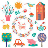 Home sweet home colorful set Royalty Free Stock Photography