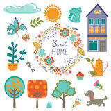Home sweet home colorful set Stock Photos
