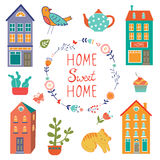 Home sweet home colorful set Royalty Free Stock Photos