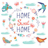 Home sweet home composition with birds and floral Stock Images