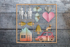 home sweet home concept with family icon paper cut shape template set on wooden background