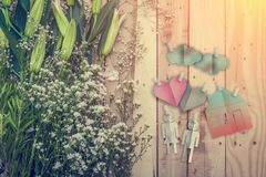 Home sweet home concept with flower and family shape paper cut o Royalty Free Stock Image