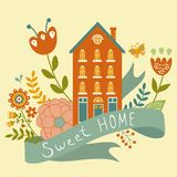 Home sweet home concept illustartion with house, Royalty Free Stock Photography