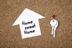 Home sweet home. On cork Stock Images