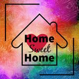 Home sweet home design over colorful background Stock Photo