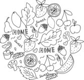 Home sweet home. Hand drawn black and white doodle vector illustration