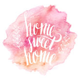 Home sweet home, hand drawn inspiration lettering Stock Photography