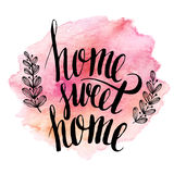 Home sweet home, hand drawn inspiration lettering stock illustration