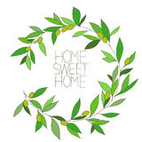 Home sweet home, hand drawn inspirational floral color graphic Stock Images