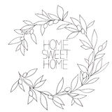 Home sweet home, hand drawn inspirational floral graphic Stock Photography