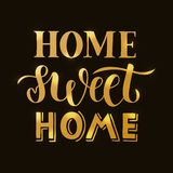 Home sweet home - Hand drawn lettering quote with texture for card, print or poster vector illustration