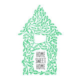 Home sweet home hand drawn poster. Vector vintage illustration. Stock Image