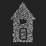 Home sweet home hand drawn poster. Vector vintage illustration. Stock Photos