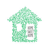 Home sweet home hand drawn poster. Vector vintage illustration. Royalty Free Stock Photography