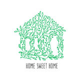 Home sweet home hand drawn poster. Vector vintage illustration. Stock Photography