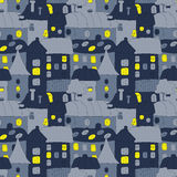 Home Sweet Home. Hand-drawn seamless pattern with doddle old town in the night. Cute vector seamless pattern with night Stock Images