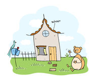 Home Sweet Home. A hand drawn vector illustration of a lovely house, inhabited by a friendly and funny bear Stock Photos