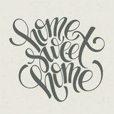 Home sweet home hand lettering, vector royalty free illustration