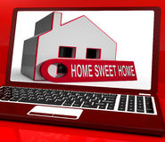 Home Sweet Home House Laptop Shows Comforts And Family Stock Photo