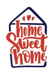Home Sweet Home inscription handwritten with calligraphic font inside contour of house. Elegant hand lettering isolated. On white background. Slogan, phrase or Stock Images