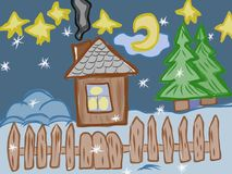 Home sweet home kids artistic drawing. On this picture you can see kids artistic drawing with Home in the winter. Very high hand drawing illustration.   You can Stock Photos