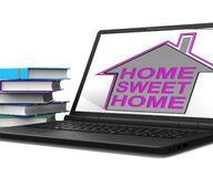 Home Sweet Home Laptop House Means Homely And Comfortable Royalty Free Stock Photography