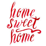 Home sweet home lettering, vector watercolor Stock Photo