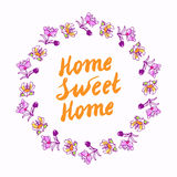 Home sweet home lettering in wreath Royalty Free Stock Photography