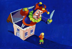 Home sweet home. In the night a huge jack in the box comes out of a house and scare a little girl Stock Photo